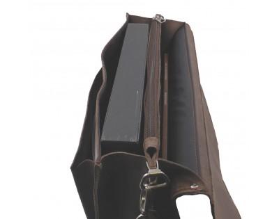 CARTABLE en croûtede cuir vachette vieilli marron 2 soufflets format A4 .Doublure synthétique. Descriptif : 2 compartim