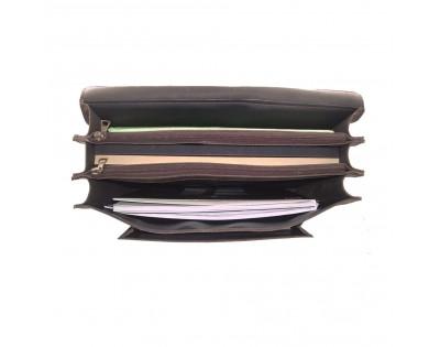 CARTABLE 3 soufflets format A4 .Croûte de cuir vieilli doublure synthetique. Descriptif: 3 compartiments séparés par 2 p